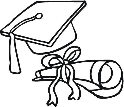 Dibujo De Birrete Y Diploma De Graduacion Para Pintar Y Colorear