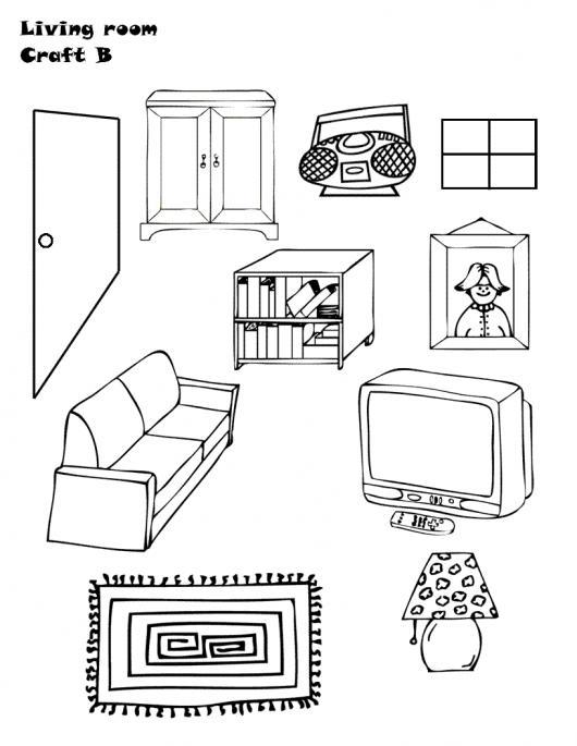 Dibujo de los muebles de una sala para pintar y colorear for Dibujar muebles