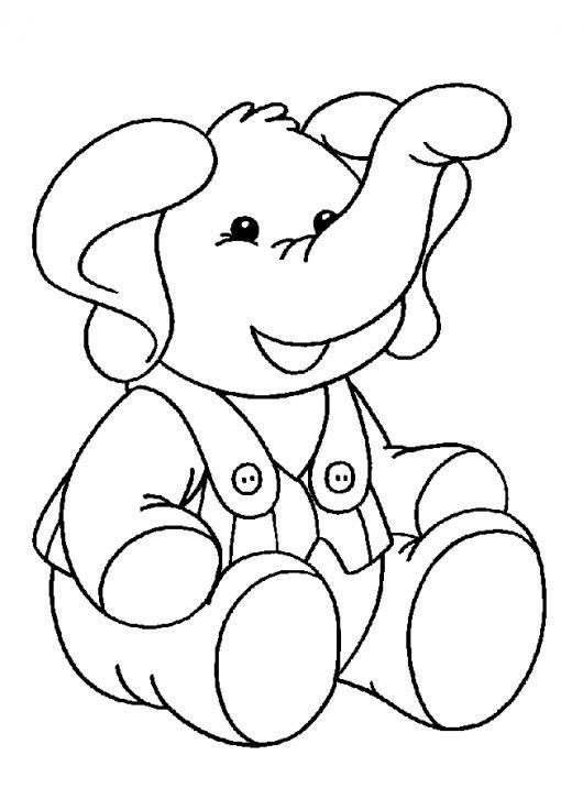 Dibujo De Bebe Elefante Con Oberol Para Pintar Y Colorear | COLOREAR ...