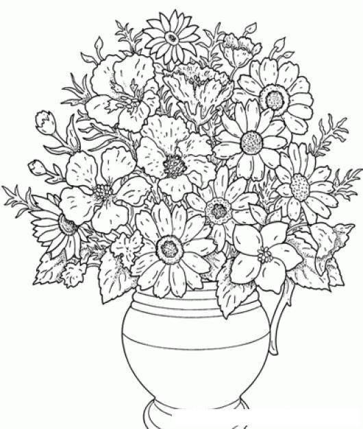 Dibujo De Florero Con Flores Para Pintar Y Colorear   COLOREAR ...
