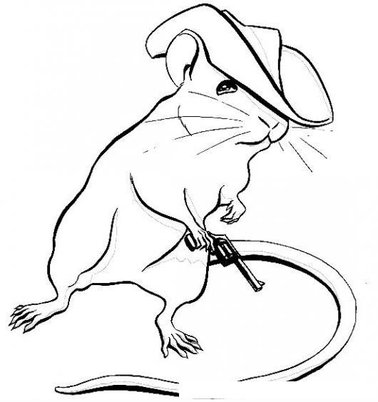 Dibujo Del Raton Vaquero Para Pintar Y Colorear Ratoncito Con