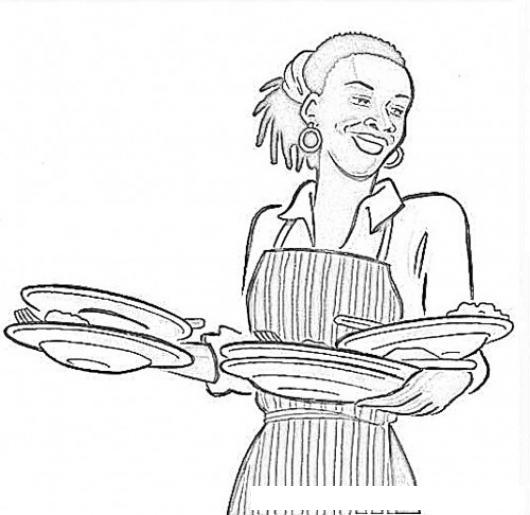 Dibujo De Negrita Con Platos De Comida Para Pintar Y