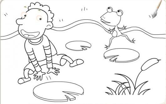 dibujo de nino saltando con una rana en un estanque de ranas para pintar y colorear
