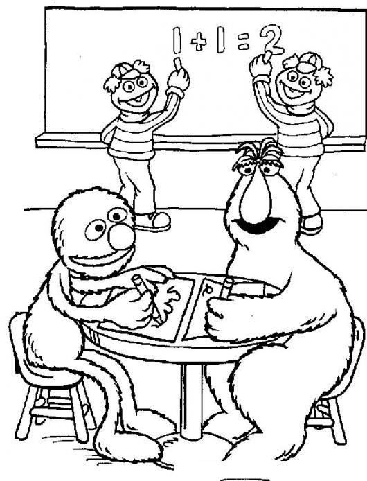 Dibujo De Clase De Matematicas De Plaza Sesamo Para Pintar Y