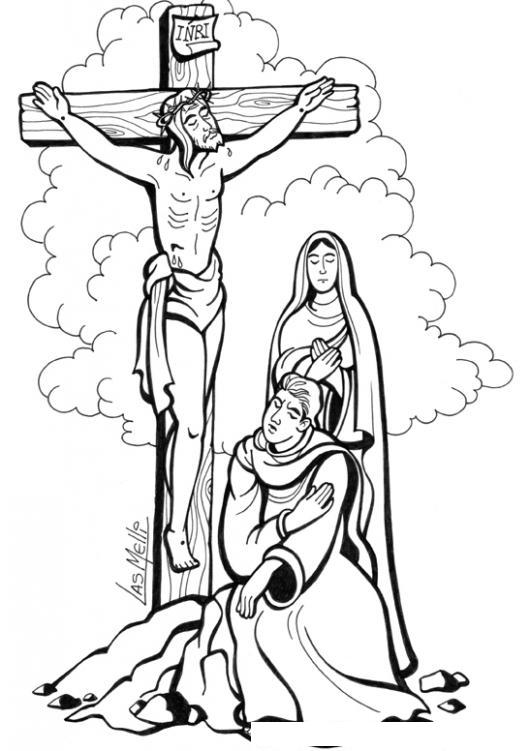 Dibujo De Maria Con Jesus Crucificado Para Pintar Y Colorear