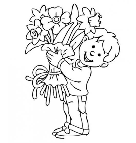 Nino Con Ramo De Flores Para Pintar Y Colorear Colorear Dibujos De