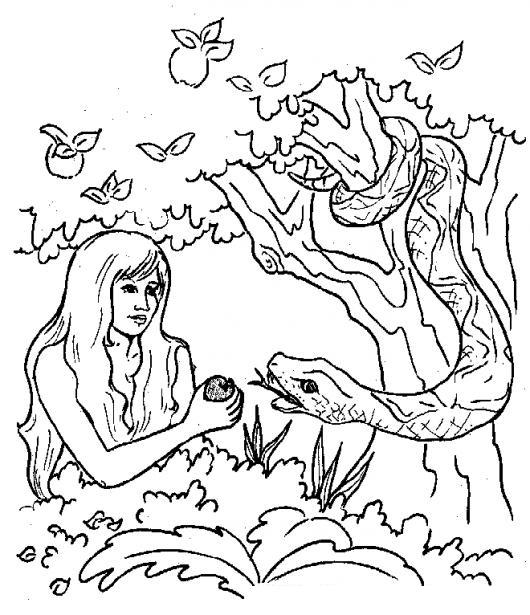 Dibujo De Eva Con La Serpiente Y La Manzana Para Pintar Y Colorear
