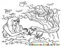 Dibujo De Eva Con La Serpiente Y La Manzana Para Pintar Y Colorear Dibujos De La Biblia