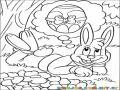Dibujo De Un Conejo Pensando En Un Huevo De Pascua Para Pintar Y Colorear
