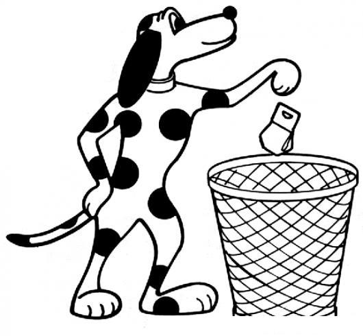 Dibujo De Perro Tirando La Basura En El Basurero Para ...