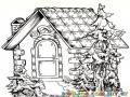 Colorear casa con pinos