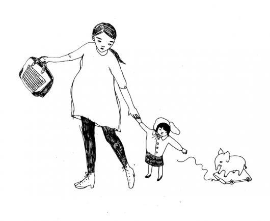 Dibujo De Mama Embarazada Caminando Hacia El Colegio Halando A Su