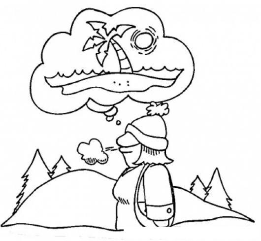 Dibujo De Un Hombre En Las Frias Montanas Deseando Estar En Una ...