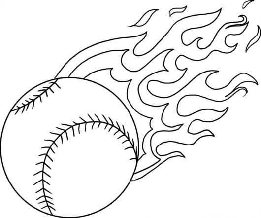 Dibujo De Peolota De Beisbol En Llamas Para Pintar Y Colorear