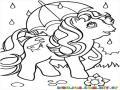 caballo con sombrilla para dibujar
