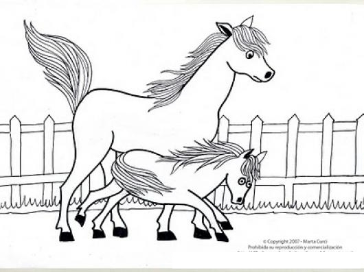 mama caballo e hijo para colorear | COLOREAR CABALLOS | mama caballo ...