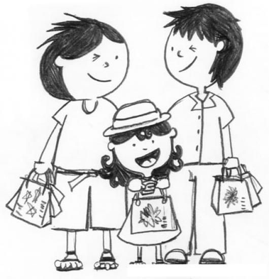 Dibujo De Familia De Compras Para Pintar Y Colorear Mama Papa E
