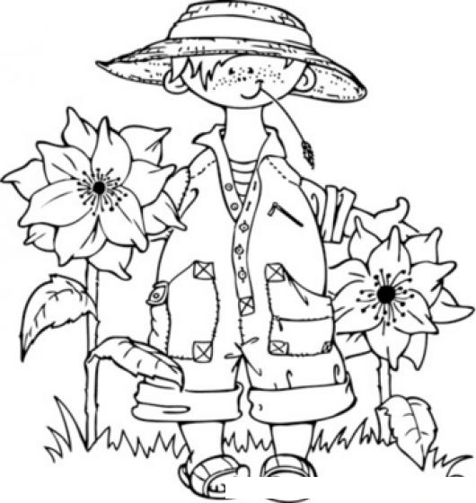 Dibujo De Nino En Jardin Para Pintar Y Colorear Jardinerito