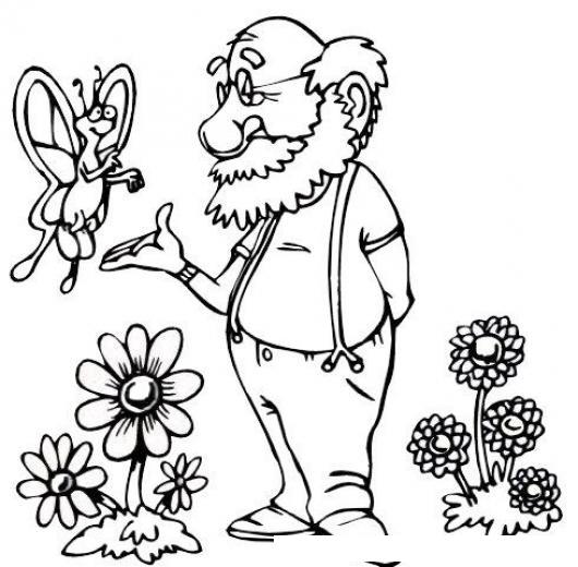 Dibujo De Mariposa Con Un Viejito Para Pintar Y Colorear