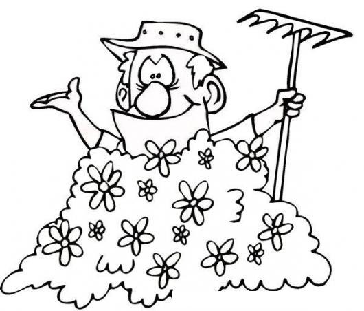 Dibujo De Un Jardinero Metido En Un Matorral Para Pintar Y ...