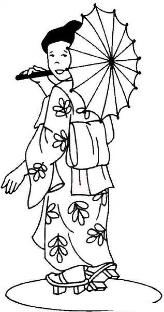 Dibujo De Chinita Con Sombrilla Y Kimono Para Colorear Y Pintar