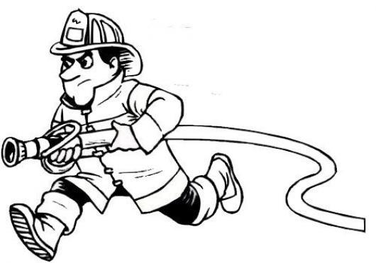 Dibujo De Bombero Corriendo Con Una Manguera Para Pintar Y