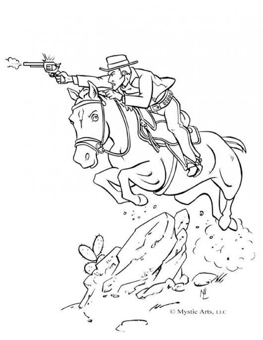vaquero con caballo para colorear   COLOREAR CABALLOS   vaquero ...