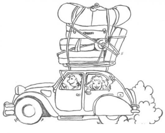 Dibujo Para Colorear Viajar: Dibujo En Familia De Vacaciones Viajando En Un Carro Lleno