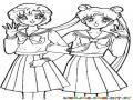 Dibujo De Sailor Moon Con Una Amiga Para Pintar Y Colorear A Zailormun