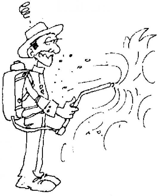 Dibujo De Fumigador Para Pintar Y Colorear Hombre Fumigando El