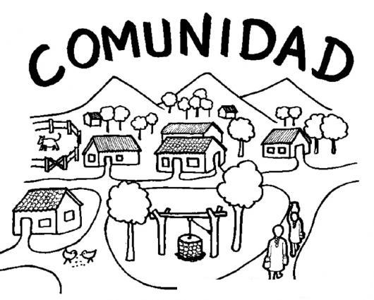 Dibujo De Comunidad Para Pintar Y Colorear Pueblo Barrio Aldea ...