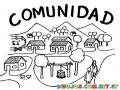 Dibujo De Comunidad Para Pintar Y Colorear Pueblo Barrio Aldea Canton O Caserio