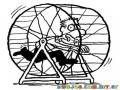 Dibujo De Hombre Atrapado En La Carrera De La Rata Para Pintar Y Colorear Empleado Corriendo En Jaula De Hamster viviendo el dia de la marmota