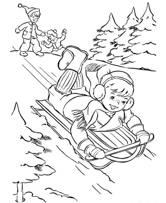 Dibujo De Nino Deslizandose En Trineo De Nieve Para Pintar Y ...