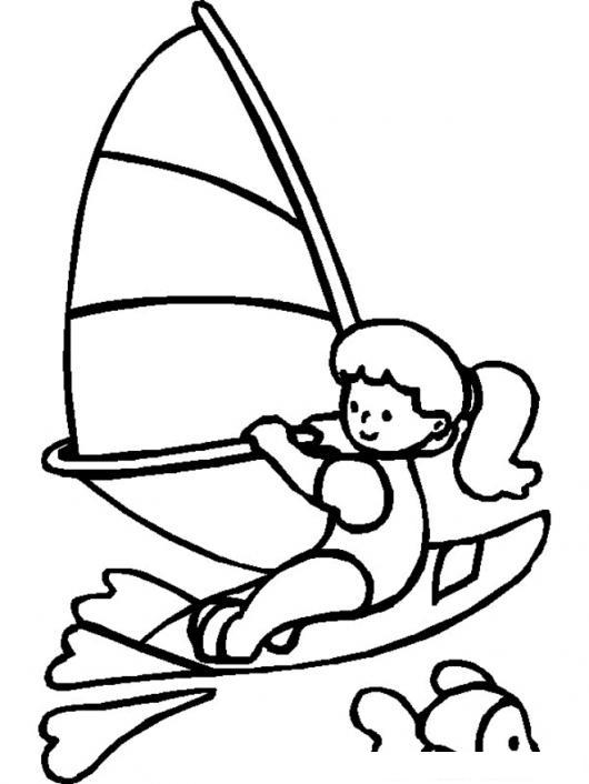 Dibujo De Nina En Velero Para Pintar Y Colorear Windsurfing Monte