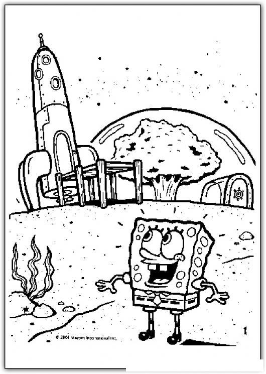 Colorear a BobEsponja con nave espacial  COLOREAR BOB ESPONJA