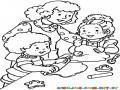 Ninos Haciendo Galletas Para Pintar Y Colorear Hermanitos Ayudando A Mama A Hornear Galletitas