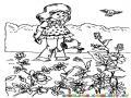 Dibujo De Nina Regando Flores Para Pintar Y Colorear