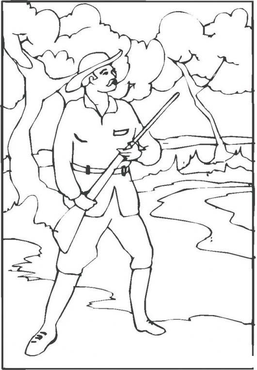 Dibujo De Cazador De Patos Con Escopeta Para Pintar Y Colorear ...