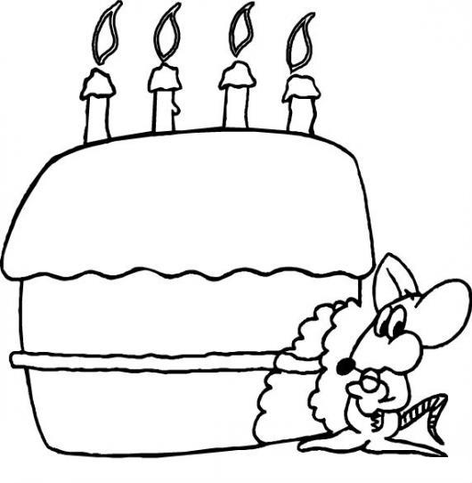 Dibujo De Raton Comiendo Pastel De Cumpleanos Con 4 Velitas Para
