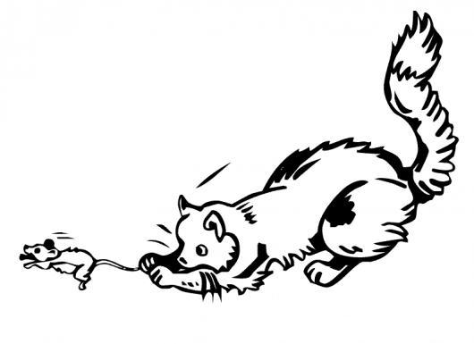 Dibujo De Gato Cazando A Un Raton Para Pintar Y Colorear Gato