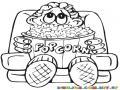 Nino Comiendo Palomitas De Maiz Dibujo Para Colorear Chico En El Cine Comiendo Poporopos