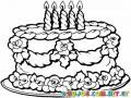 Dibujo De Pastel De 5 Velas Para Pintar Y Colorear Pastelito De Cumpleanos Para Un Nino De Cinco Anos